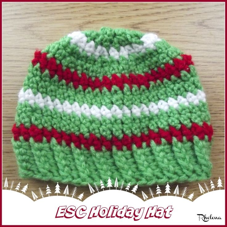 Free crochet pattern for the ESC Holiday Hat. The holiday hat pattern is given in a baby size, but can be customized for any size you need.