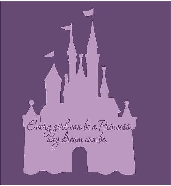 "Disney Castle Princess 22""l x 32""hPink Cinderella Girls Vinyl Wall Decal Sticker Art"