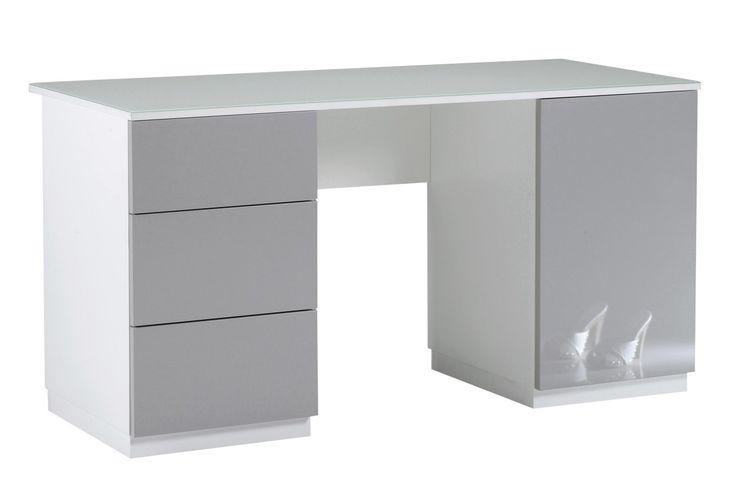 LOISTE-työpöytä valkoinen/korkeakiilto harmaa