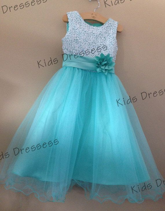Flower Girl Dress Aqua Sequin Double Mesh Flower by kidsdresses, $40.00
