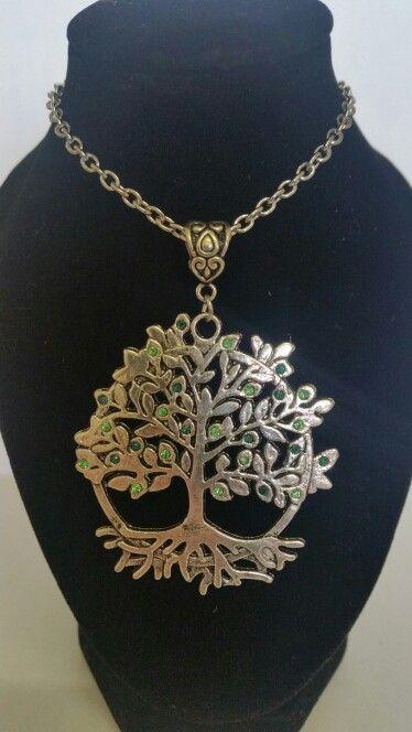 Tree of life pendant necklace. Mix of light green and dark green rhinestones. AUS $ 14.00