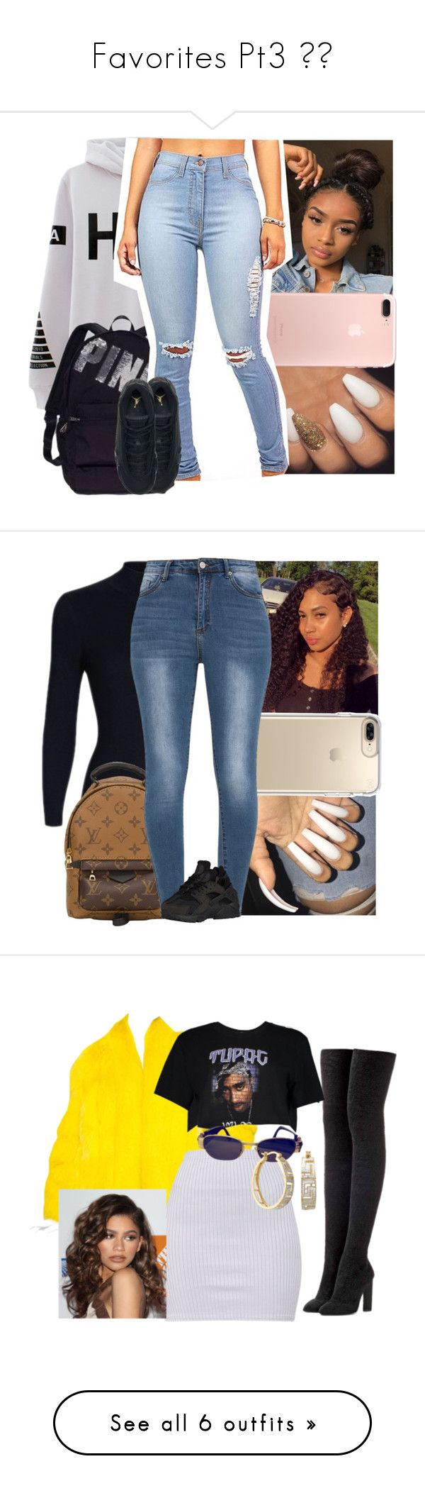 """""""Favorites Pt3 """" by sashalovesyou123 ❤ liked on Polyvore featuring VFiles, Victoria's Secret, Speck, Louis Vuitton, NIKE, Saga Furs, adidas Originals, Boohoo, Versace and Coleman"""