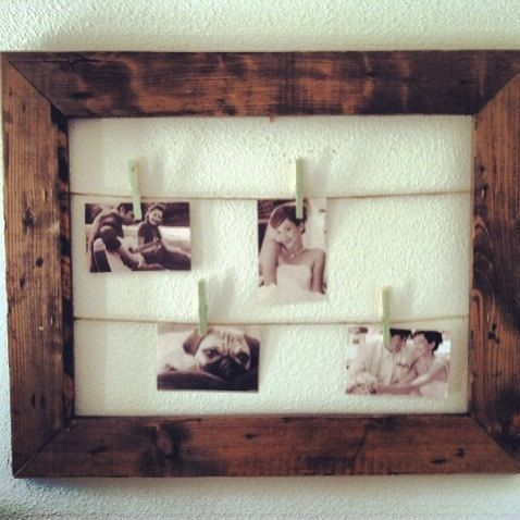 Rustic Clothesline Picture Frame Picture Display by MintageDesigns