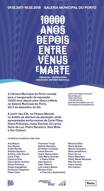 Inauguração | 09 dezembro 16h00 | 10000 anos depois entre Vénus e Marte | Galeria Municipal do Porto