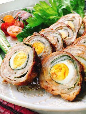 にんにく味でうずらの卵と大葉の豚肉ロール by misumisu07 ...