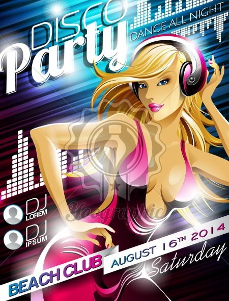 Vector Disco Party Flyer Design with sexy girl and headphone on shiny color background. Eps10 illustration. - Royalty Free Vector Illustration