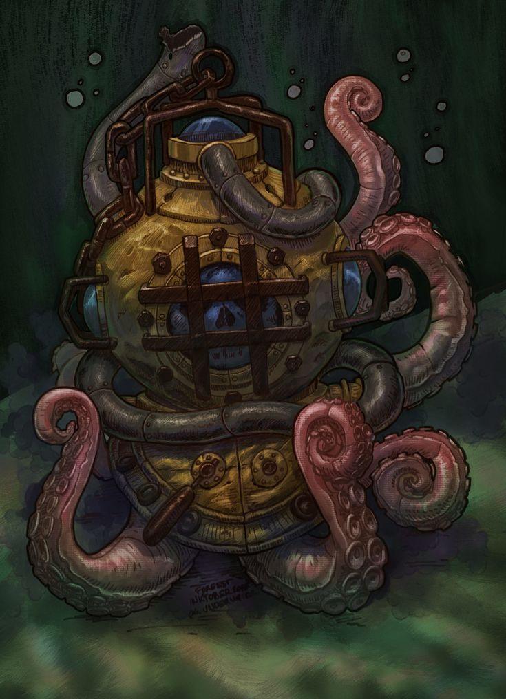 Diving helmet and octopus, Máté Lukács on ArtStation at https://www.artstation.com/artwork/AYxBW