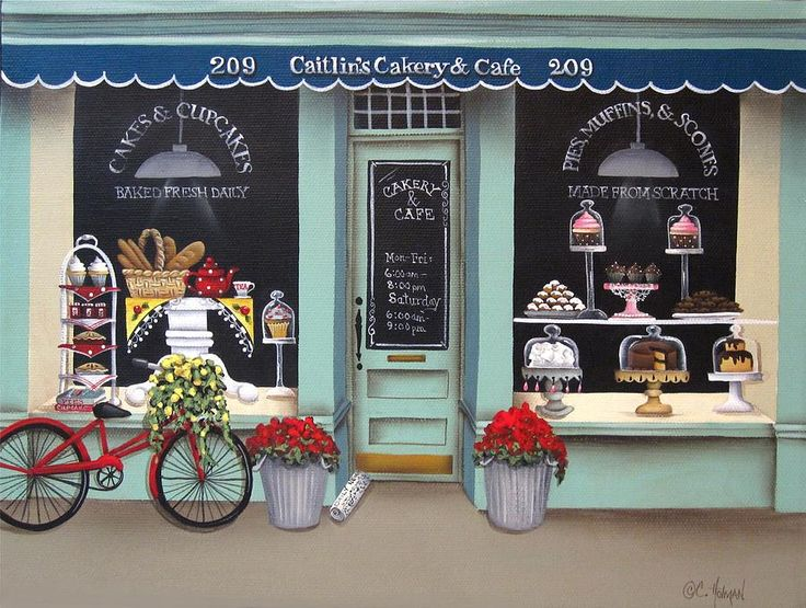 Caitlins Cakery and Cafe Painting  - Caitlins Cakery and Cafe Fine Art Print