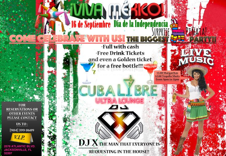 """Viva Mexico! Come celebrate #Mexicos #Independence Day Saturday September 16th! Enjoy $3 Margaritas, $2 Tequilas and #cash #prizes inside our piñata. Win free drink tickets and the GOLDEN ticket to win a """"Tequila Patron"""" bottle! Live music from our DJ and much more  great stuff!!!"""