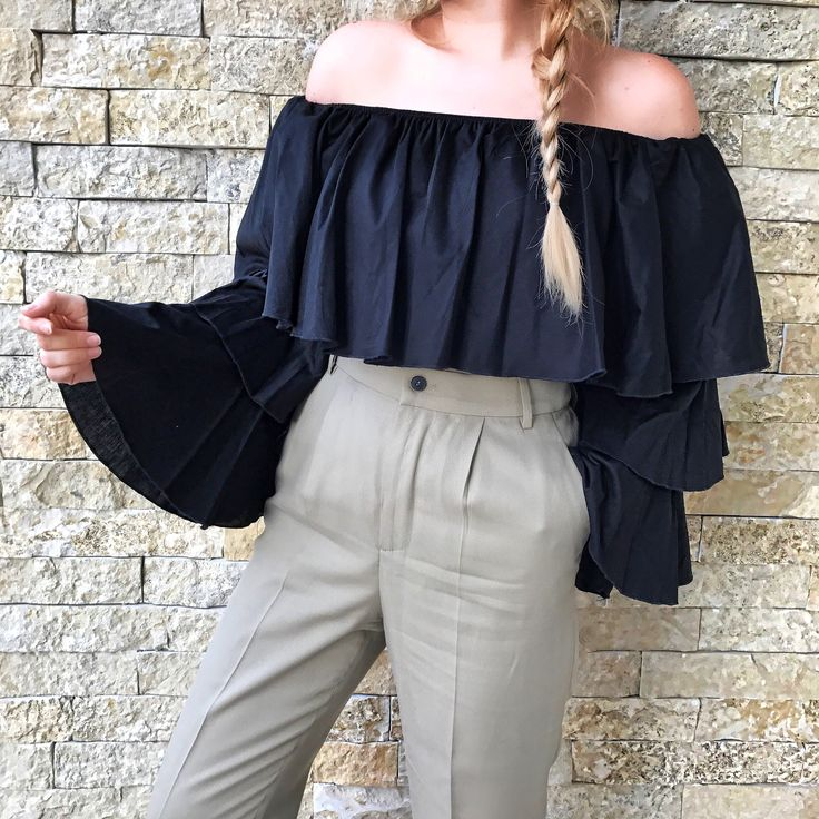 Off shoulder black blouse and zara high waisted pants