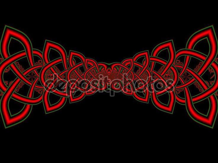 Bordo con nodi celtici insolito. St. Patricks Day. Opera d'Arte frattale per il disegno creativo — Immagini Stock #100332990