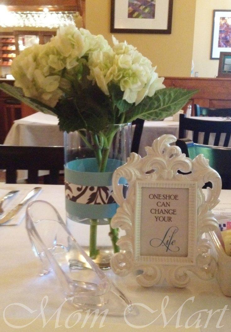 Centerpiece idea for a Shoe Themed bridal shower! Find the Frame and Crystal slipper at FBYS.com {image Via Mom Mart}