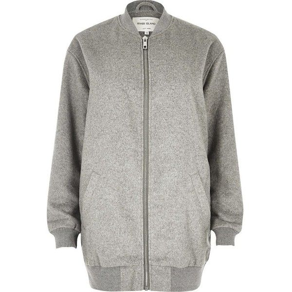 River Island Grey soft longline bomber jacket (£47) ❤ liked on Polyvore featuring outerwear, jackets, coats / jackets, grey, sale, women, longline jacket, grey bomber jacket, river island jackets and gray bomber jacket