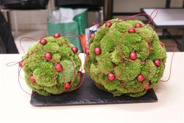Kerstbollen gemaakt met bolmos
