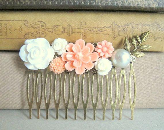 Jewelsalem - Peach Hair Comb Wedding Head Comb Bridesmaid Gift Bridal Hair Piece Head Piece Pastel Colors Fall Trend Autumn Rose Floral Flower Rustic