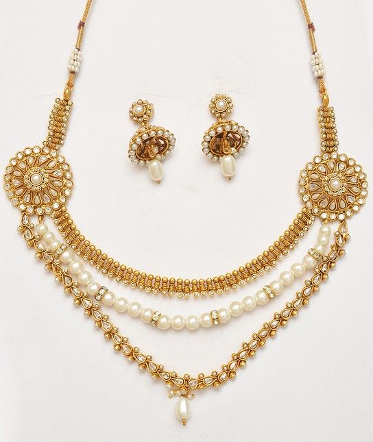 Polki Kundan Costume Jewellery Set With Pearls
