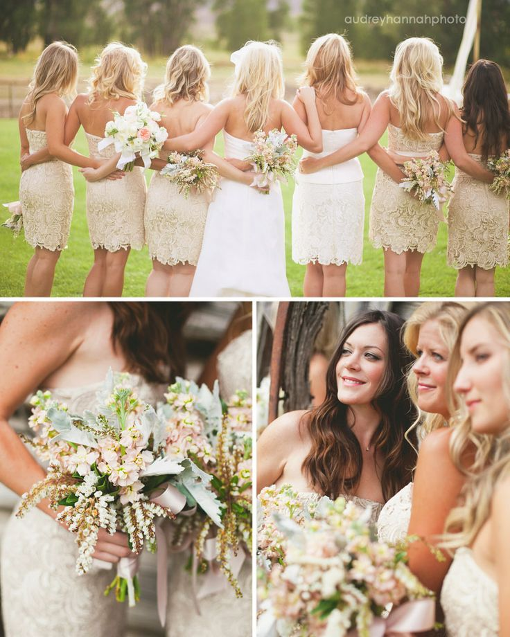 I'm in love with the tan cream color <3Ideas, Bridesmaiddresses, Colors Schemes, The Dresses, Bridesmaid Bouquets, The Brides, Lace Dresses, Brides Maid, Lace Bridesmaid Dresses