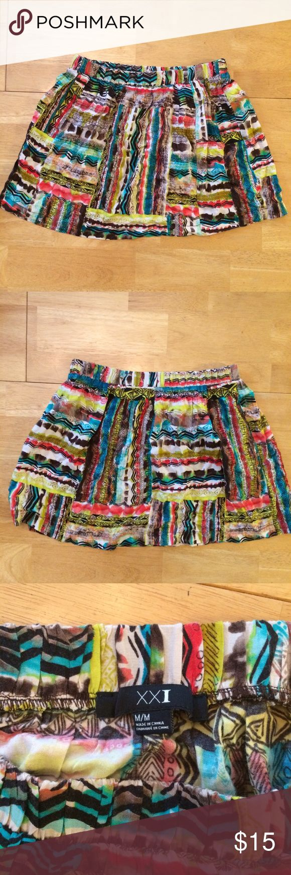 Tribal Print Skirt Forever 21 tribal print skirt. Size M. Brown, yellow, green, and red Forever 21 Skirts Mini