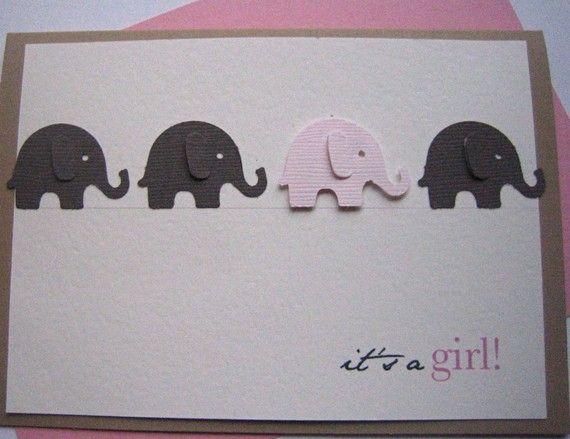Bienvenue bébé fille carte éléphant par imeondesign sur Etsy