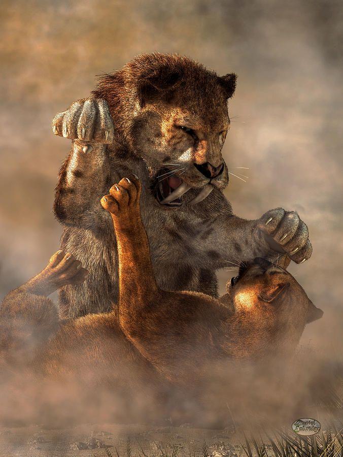 Prehistoric Cat Fight Digital Art by Daniel Eskridge