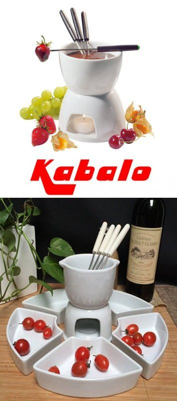 Kabalo 11pc Ceramic Chocolate Fondue Set With Stainless Steel Forks