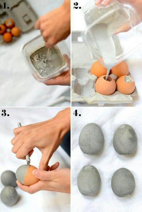 Cement eggs, use stamps for words/sayings like the rocks with stamps
