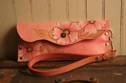 Belle Wristlet (in Leather in Pink, White, and Gold)