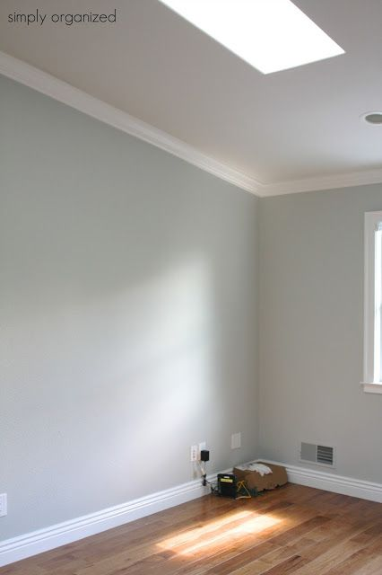 wall color is benjamin moore - sleigh bells and trim color is swiss coffee