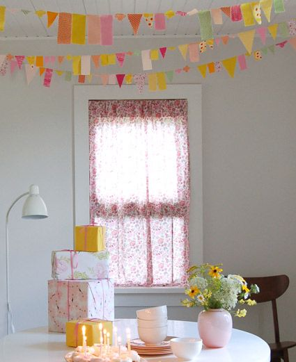 whimsical party garland! perfect for a child's birthday party, a wedding, a holiday celebration or a baby shower. The fun bright colors and different sizes and shapes will make any space more festive and inviting!
