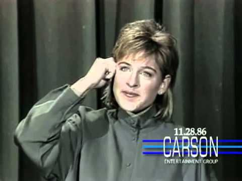 "Ellen DeGeneres' first stand-up performance and trip to the couch on ""The Tonight Show Starring Johnny Carson"" in 1986."