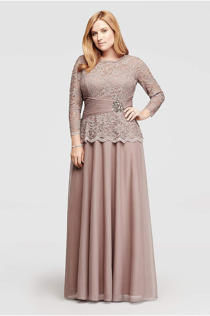 Long Mock Two-Piece Dress with 3/4 Sleeves - Davids Bridal