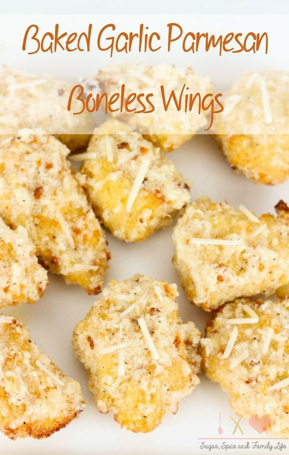 Homemade boneless chicken wings are easy to make and budget friendly. Baked Garlic Parmesan Boneless Wings will be a family favorite as a delicious appetizer, snack or dinner. These baked chicken nuggets tossed in garlic parmesan sauce are also great for party food.  - Baked Garlic Parmesan Boneless Wings Recipe on Sugar, Spice and Family Life