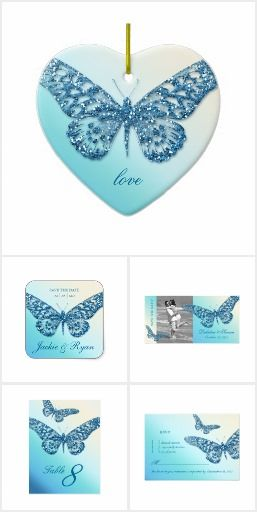 Blue Butterfly Wedding Invites & Gifts