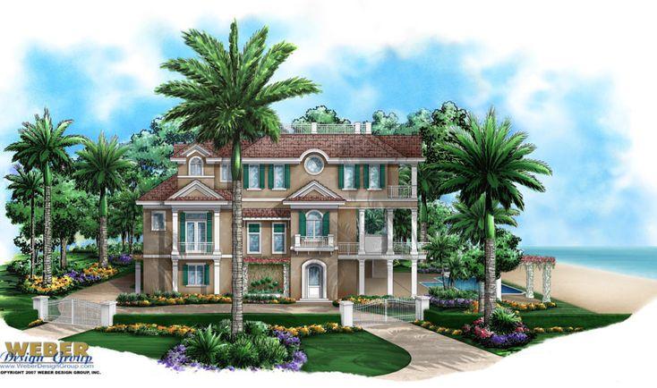 Seaside Place Home Plan - Caribbean Coastal Design, 3 Story, Garage, Lanai, Pool/Spa