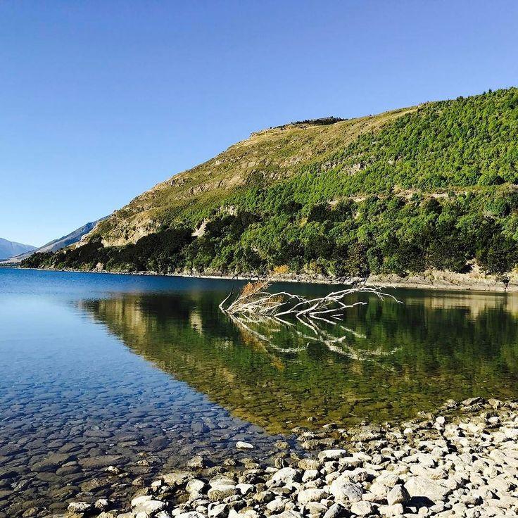 The lake is like a mirror  So beautiful  #lake #newzealand #mirrored #incredibleviews #epiclandscapes #inspiring #world #epic #scenes #lakewanaka #roadtrip #luxurytravel #trilife #triathlete #swimbikerun #traininginepicplaces #blogger #blog #wanderlust #nofilter #inspiretolive #life #happiness #blueskies #summer #sunshine #greenery