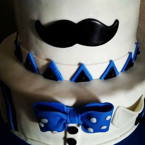 Mustache and bow tie cake