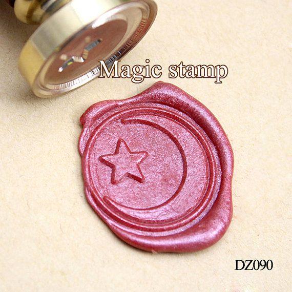 La lune et les étoiles cire sceller tampon, timbre mariage, timbre de sceau de cire de parti, cire initial joint stamp(DZ090)