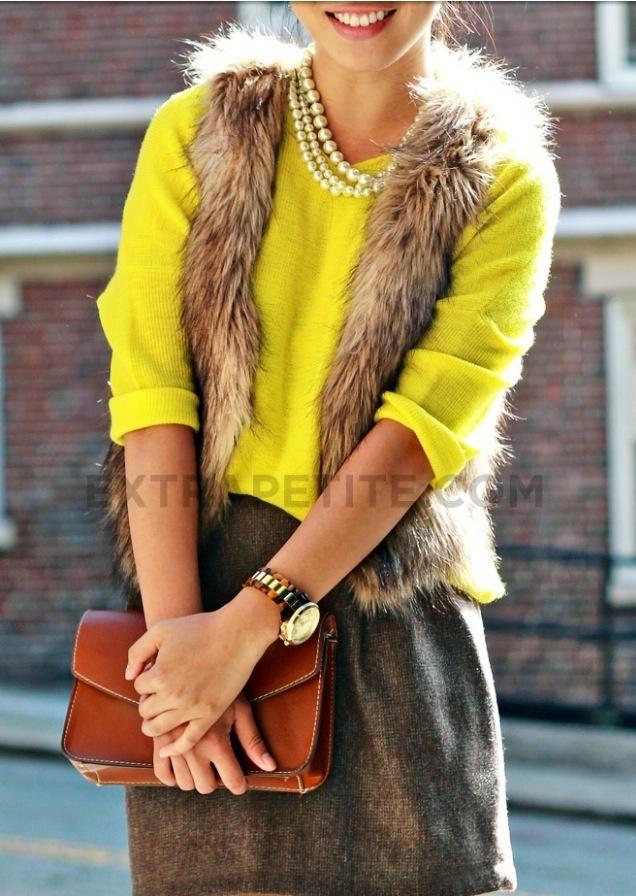 My Zara fur vest and Yellow shirt :)
