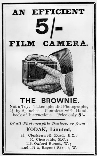 """c. 1901 British Brownie ad. """"Not a toy"""" conflicts with entire marketing campaign in the United States."""