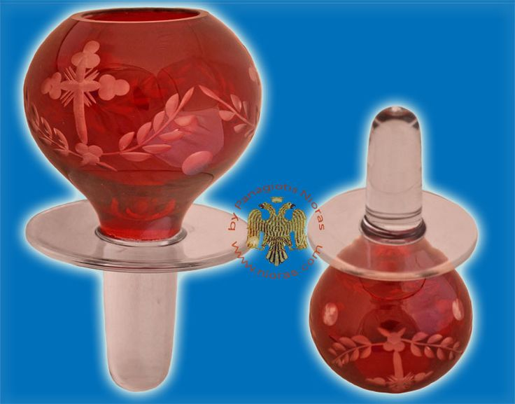 Louserna Orthodox Glass Votive Cup with Hand Carved Crosses and Standing Poll in Red Colour