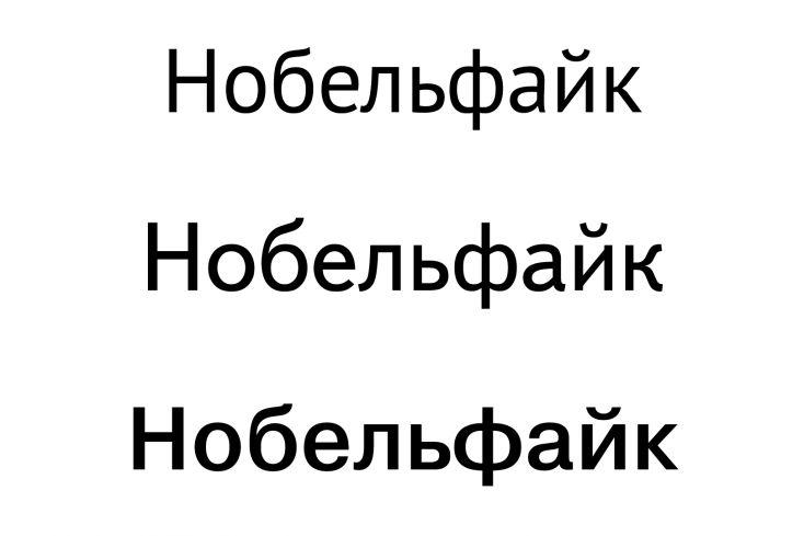 Открытый шрифт – PT Sans, средняя апертура – шрифт Textbook New, закрытый шрифт – Helvetica.