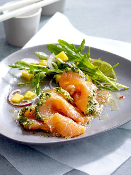 graved lachs asia style mit rucola mango salat recipe. Black Bedroom Furniture Sets. Home Design Ideas