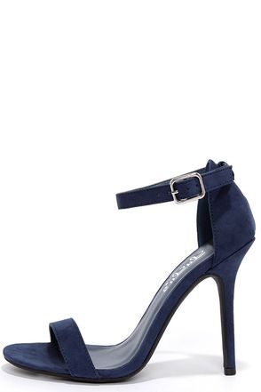 "Avoid that twinge of jealousy you get when your BFF shows up in the hottest shoes around, and get yourself a pair of the LuLu*s Elsi Navy Blue Single Strap Heels! These dark blue vegan suede heels are a must-have for every occasion with a single toe band and an adjustable ankle strap (with silver buckle) anchored by a slender heel cup. 4"" stiletto heel (plus rubber tip) comes in at the perfect height. Cushioned insole. Nonskid rubber sole. Available in whole and half sizes. Measurements are…"