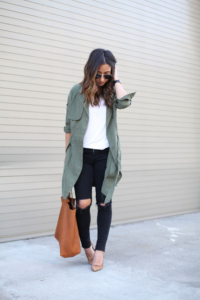 Banana Republic trench dress lightweight olive | Crystalin Marie
