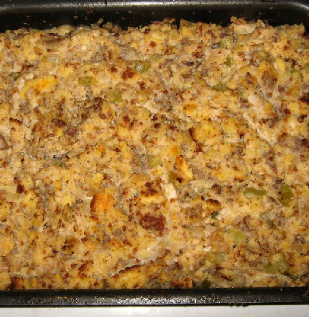 A super easy and moist crockpot chicken and dressing, made using a packaged stuffing mix like Pepperidge Farm, adding in sauteed onion and celery, cooked chicken and cream soup, blended with chicken stock..