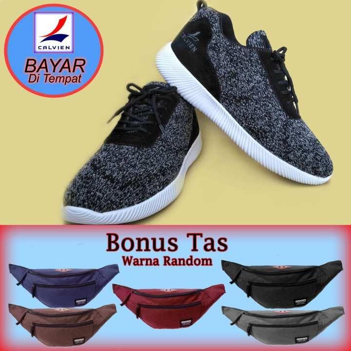 Sepatu Calvien Sneakers Pria Kode Cl09 Bonus Tas Warna Abu Abu