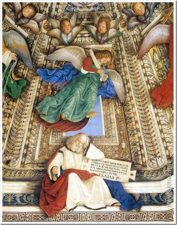 Ангел держит орудия страстей Христовых над пророком Исаией. После 1484. Купол ризницы Сан-Марко базилики Санта делла Каса. Лорето. Италия