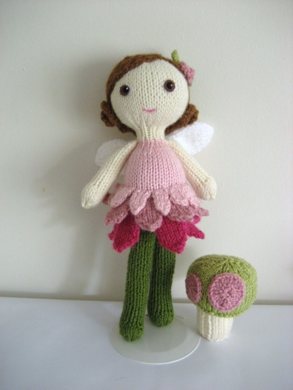 Knit Fairy Doll and Mushroom Pattern Set Knit Doll Patterns Pinterest D...