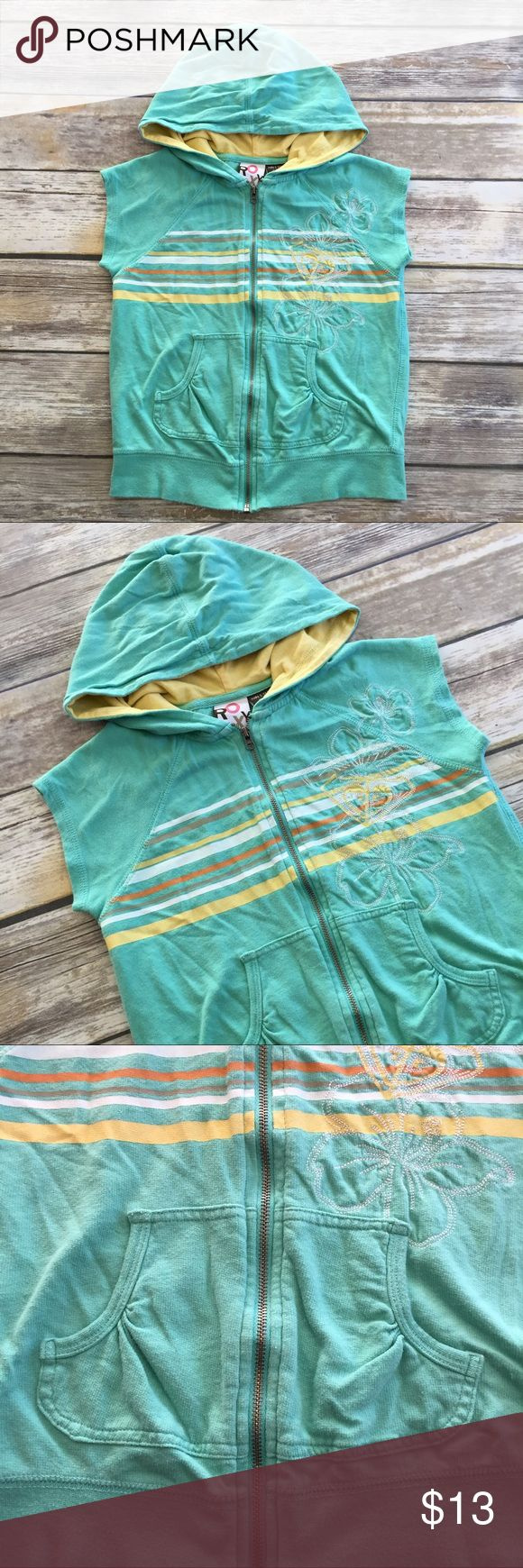 Roxy Sleeveless Hoodie Aqua blue and yellow zip up sleeveless hoodie with kangaroo pockets and floral embroidery on the front. Size small/4. Excellent condition. Roxy Shirts & Tops Sweatshirts & Hoodies