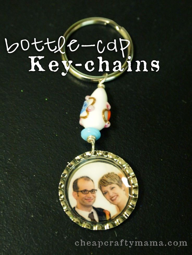 These are some fun gifts that are very easy to make. I recently made them for some friends of mine who hosted a baby shower for me. You will need: bottle-cap pendants key-chain rings Mod Podge Dim...